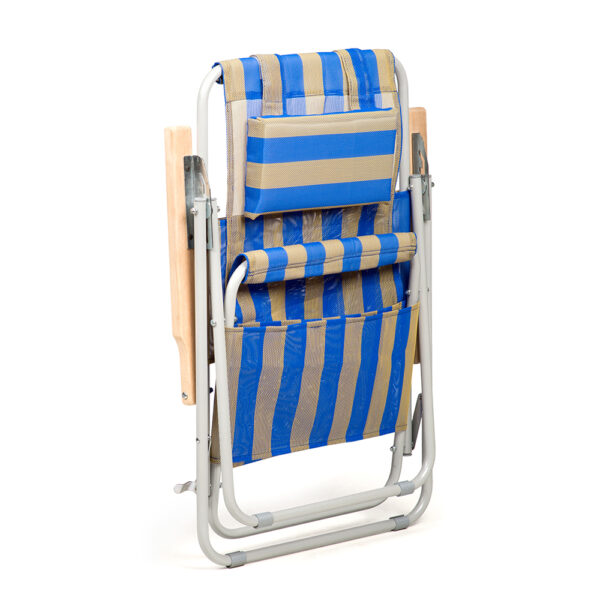 """Кресло-шезлонг """"Ясень"""" d20 мм (текстилен сине-жёлтый) фото"""