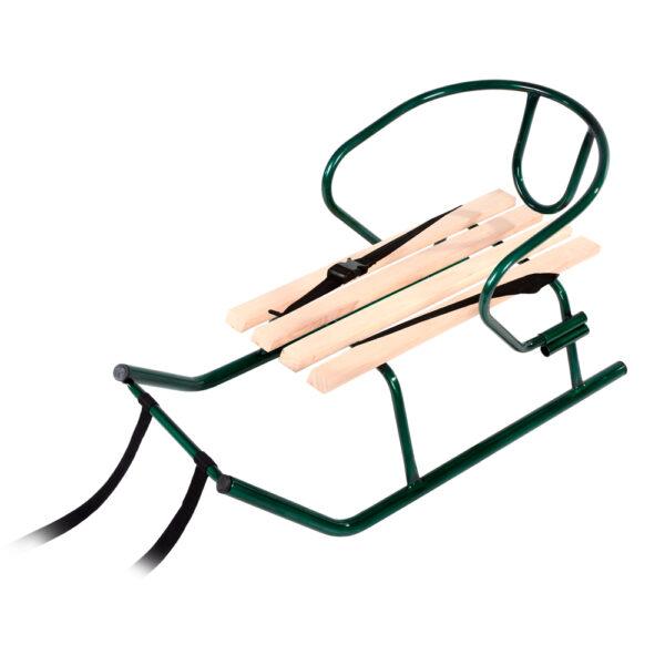 """Санки """"Малыш"""" зеленые (неокрашенная планка) + спинка фото"""