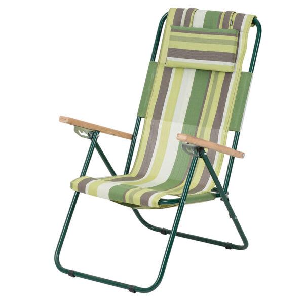 """Кресло-шезлонг """"Ясень"""" d20 мм (текстилен зеленая полоса) фото"""