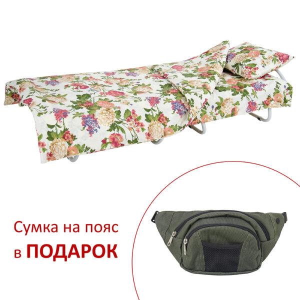 Кровать на ламелях с постелью d25 мм бязь (Цветы полевые) фото