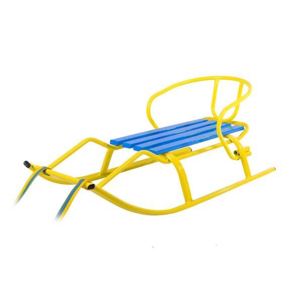 """Санки """"Спорт Ф1 """" желтые-синие (планка синяя) фото"""