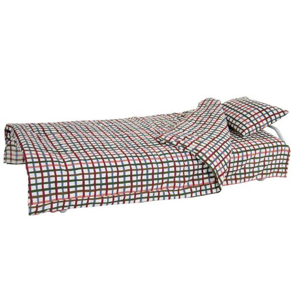 Кровать на ламелях с постелью d25 мм бязь (Цветная мелкая клетка) фото