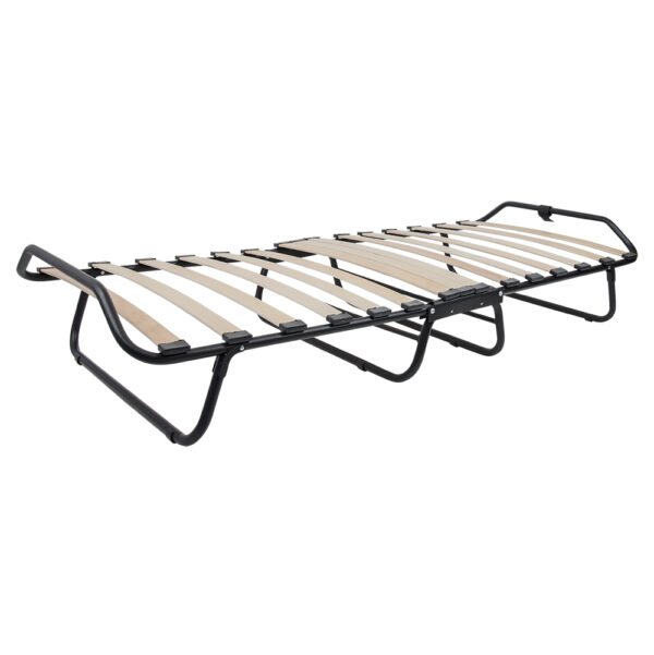 Кровать на ламелях d25 мм (Бязь перья на черном фоне) фото