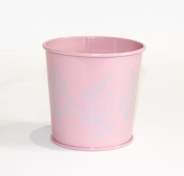 """Кашпо декоративне 0,5л """"ЛИСТЯ"""" Vitan, колір Рожевий , 95*80*100 метал фото"""