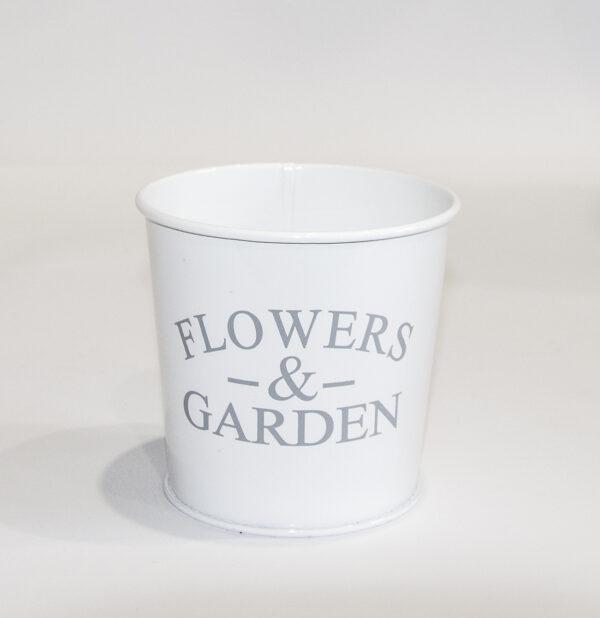 """Кашпо декоративне 0,5л """"FLOWERS & GARDEN"""" Vitan, колір Білий глянець, 95*80*100 метал фото"""