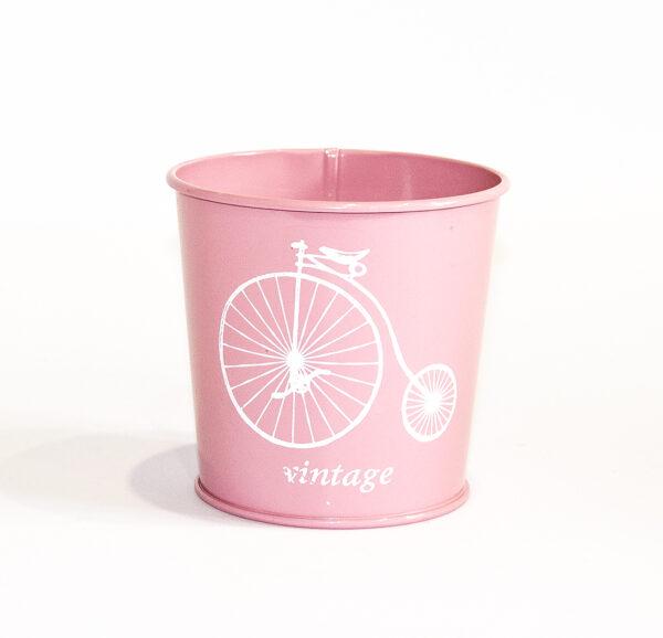 """Кашпо декоративне 0,5л """"Білий велосипед"""" Vitan, колір Рожевий, 95*80*100 метал фото"""