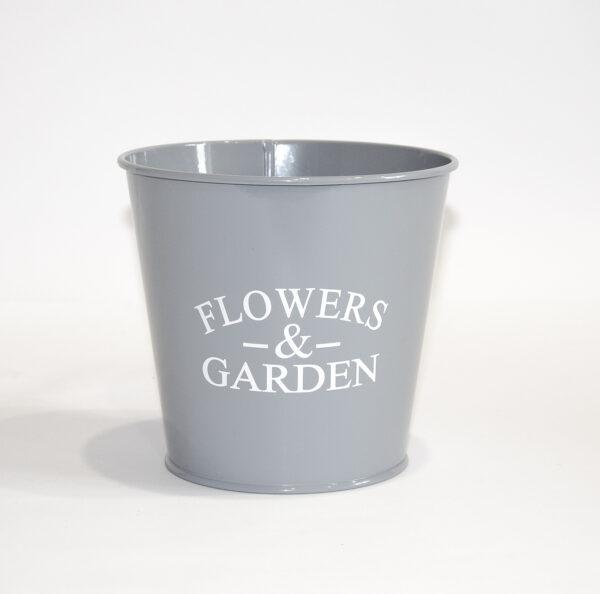 """Кашпо декоративне 1л """"FLOWERS & GARDEN"""" Vitan, колір Сірий, 130*98*140, метал фото"""