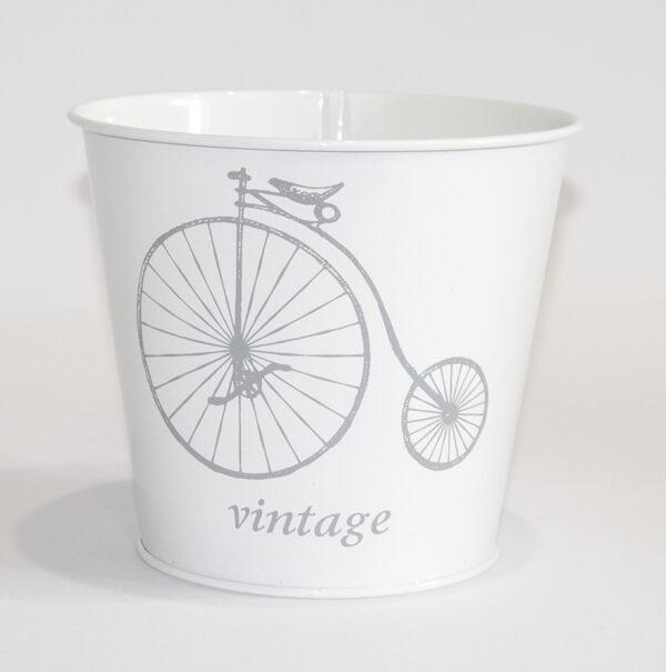 """Кашпо декоративне 2л """"Сірий велосипед"""" Vitan, колір Білий глянець, 140*110*157, метал фото"""